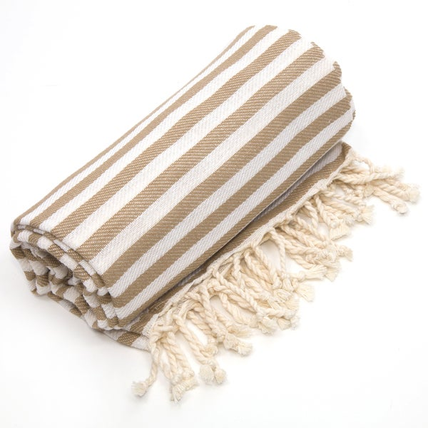 Authentic Pestemal Fouta Tan Turkish Cotton Bath and Beach Towel