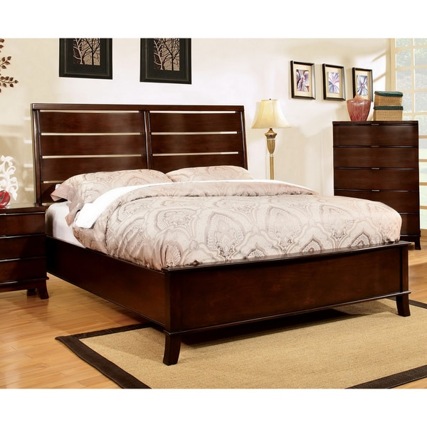Furniture of America Slate Contemporary Brown Cherry Queen Size Bed