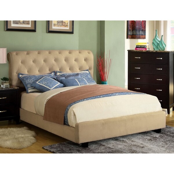 Furniture of America Yani Tufted Modern Velvet Queen Platform Bed