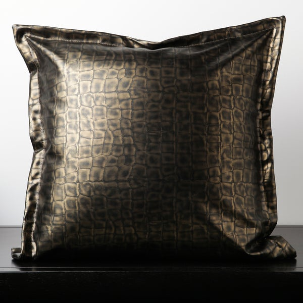 Candice Olson: Cade Brown Leather 18-inch Decorative Down Pillow