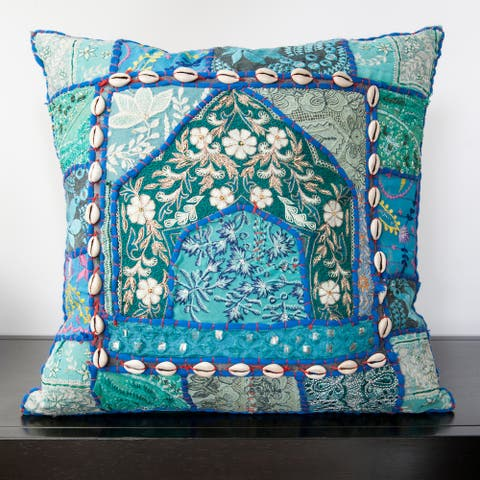 Caley Blue Sari Patchwork 22-inch Decorative Feather Down Pillow