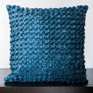 Jocelyn Slate Blue Ribbon Textured 18-inch Decorative Pillow