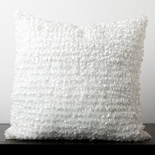 Cadence White Ribbon Ruffle 22-inch Decorative Down Pillow