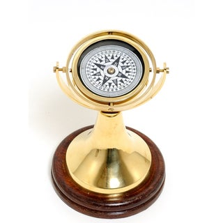 Old Modern Handicrafts Gimbaled Compass on Wooden Base