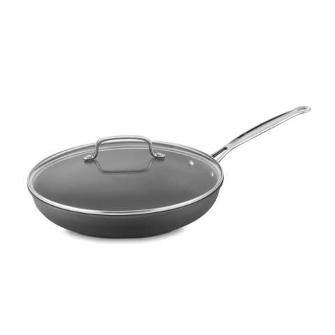 Cuisinart 12 inch Hard Anodized Skillet with Glass Cover - Black
