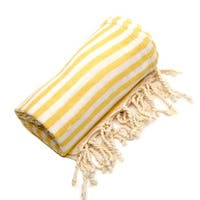 Authentic Pestemal Fouta Sunshine Yellow Turkish Cotton Bath/ Beach Towel