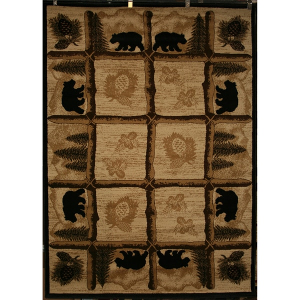 Lodge Rustic Pinecone Bear Area Rug (5'3 X 7'3)