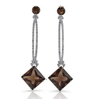 Sterling Silver Smokey Quartz and 2/5ct TDW White Diamond Earrings (J-K, I2-I3)