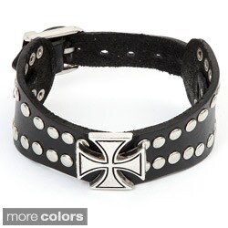 Stainless Steel and Leather Men's Celtic Cross and Stud Bracelet