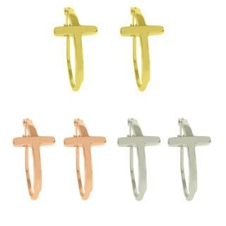 Dolce Giavonna Sterling Silver Cross Hoop Earrings