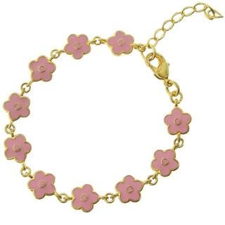 Molly and Emma 18k Gold Overlay Children's Enamel Flower Bracelet