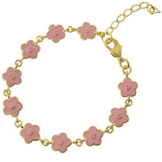 Molly and Emma 18k Gold Overlay Children's Enamel Flower Bracelet