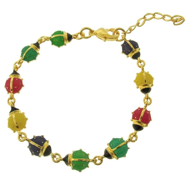 Molly and Emma 18k Gold Overlay Children's Enamel Ladybug Bracelet