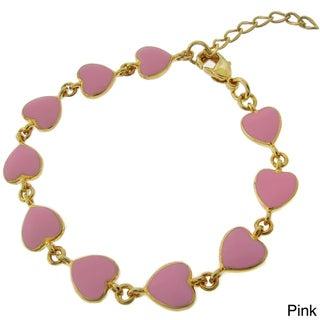 Molly and Emma 18k Gold Overlay Children's Enamel Heart Bracelet