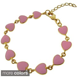 Molly and Emma 18k Gold Overlay Children's Enamel Heart Bracelet