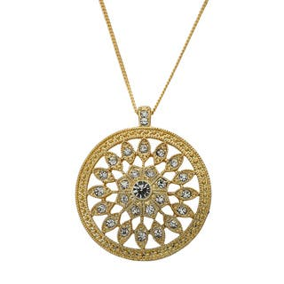 Riccova Color-plated White Crystal Starburst Medallion Necklace|https://ak1.ostkcdn.com/images/products/7743200/P15142405.jpg?impolicy=medium