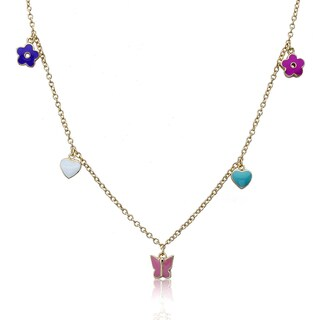 Little Miss Twin Stars Goldtone Children's Enamel Charm Necklace