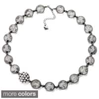 Riccova Color-plated Mesh Lucite Bead and Crystal Necklace