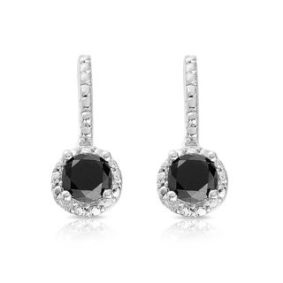 Finesque Sterling Silver 1/2 to 1ct TDW Black Diamond Halo Leverback Earrings