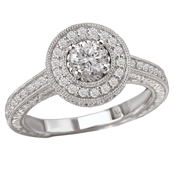 Avanti 14k White Gold 3/5ct TDW Diamond Halo Engagement Ring (G-H, SI1-SI2)