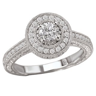 Avanti 14k White Gold 3/5ct TDW Diamond Halo Engagement Ring (G-H, SI1-SI2)