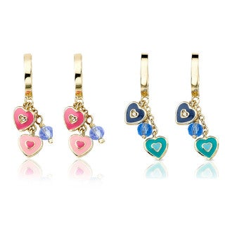 Little Miss Twin Stars 14k Gold Overlay Crystal and Enamel Earrings