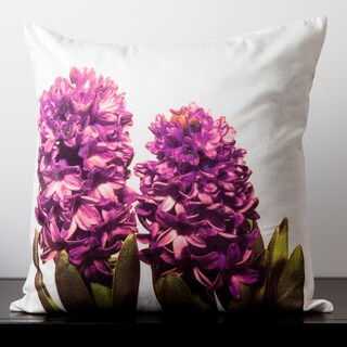 Evelyn Winter White Hibiscus Flower 18-inch Decorative Down Pillow