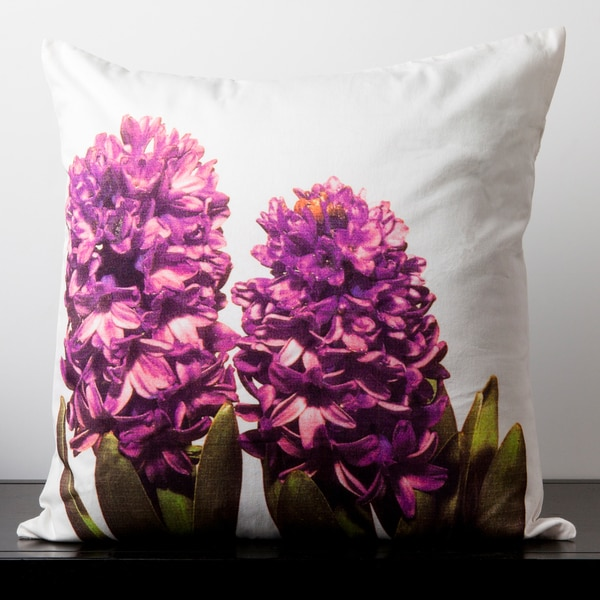 Evelyn Winter White Hibiscus Flower 18-inch Decorative Pillow