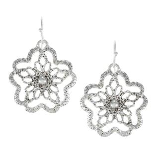 Alexa Starr Silvertone Floral Lace Earrings