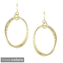 Alexa Starr Goldtone Textured Oval Earrings