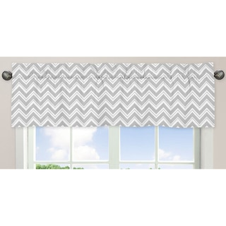 Sweet Jojo Designs Gray and White 54-inch x 15-inch Window Treatment Curtain Valance for Gray and Turquoise