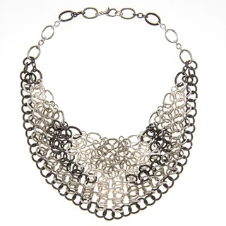 Alexa Starr Silvertone Chain Link Bib Necklace