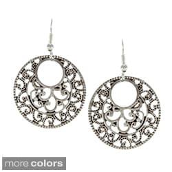 Alexa Starr Silvertone Filigree Circle Earrings