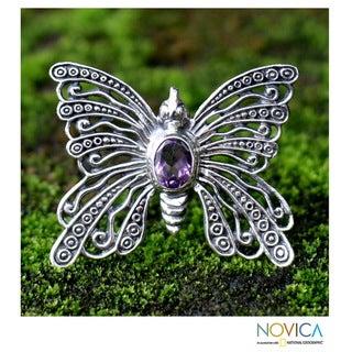Handmade Sterling Silver 'Bright Butterfly' Amethyst Brooch Pendant (Indonesia)