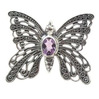 Handmade Sterling Silver 'Bright Butterfly' Amethyst Brooch Pendant (Indonesia)