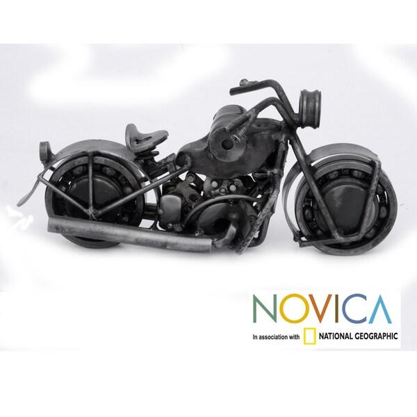 Handmade Auto Part 'Rustic Sport Motorbike' Sculpture (Mexico)