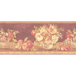 Brewster Light Brown Fruit Floral Border Wallpaper