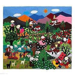 Handmade Cotton 'Autumn Harvest' Applique Wall Hanging (Peru)