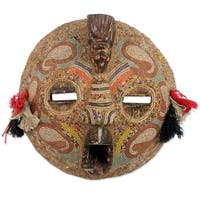 Handmade Sese Wood 'Flying Protector' Africa Mask (Ghana) - Brown