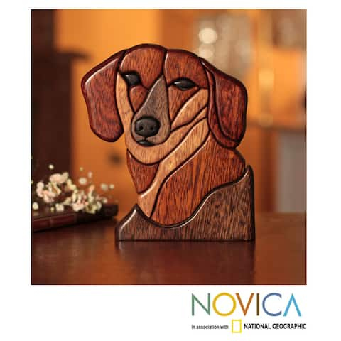 Handmade Loyal Dachsund Year Round Dog Decorator Accent Shades of Brown with Black Puzzle Look Wood Animal Sculpture (Peru)