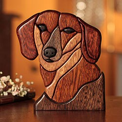 Loyal Dachsund Year Round Dog Decorator Accent Shades of Brown with Black Puzzle Look Wood Animal Art Work Sculpture (Peru)