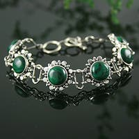 Handmade Sterling Silver Mystical Blooms Malachite Green Fashion Bracelet (India)
