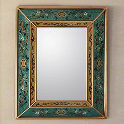 26-inch Handcrafted Reverse Painted Glass 'Emerald Fields' Mirror (Peru)