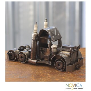 Handcrafted Auto Part 'Rustic Semi Truck Cab' Sculpture , Handmade in Mexico