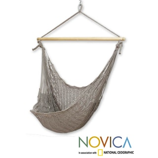Handmade Grey Cotton/Banak Wood Pate Large Deluxe Hammock Swing Chair (Mexico)