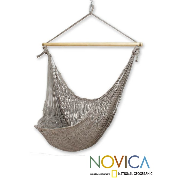 Handcrafted Grey Cotton/Banak Wood Pate Large Deluxe Hammock Swing Chair  (Mexico)