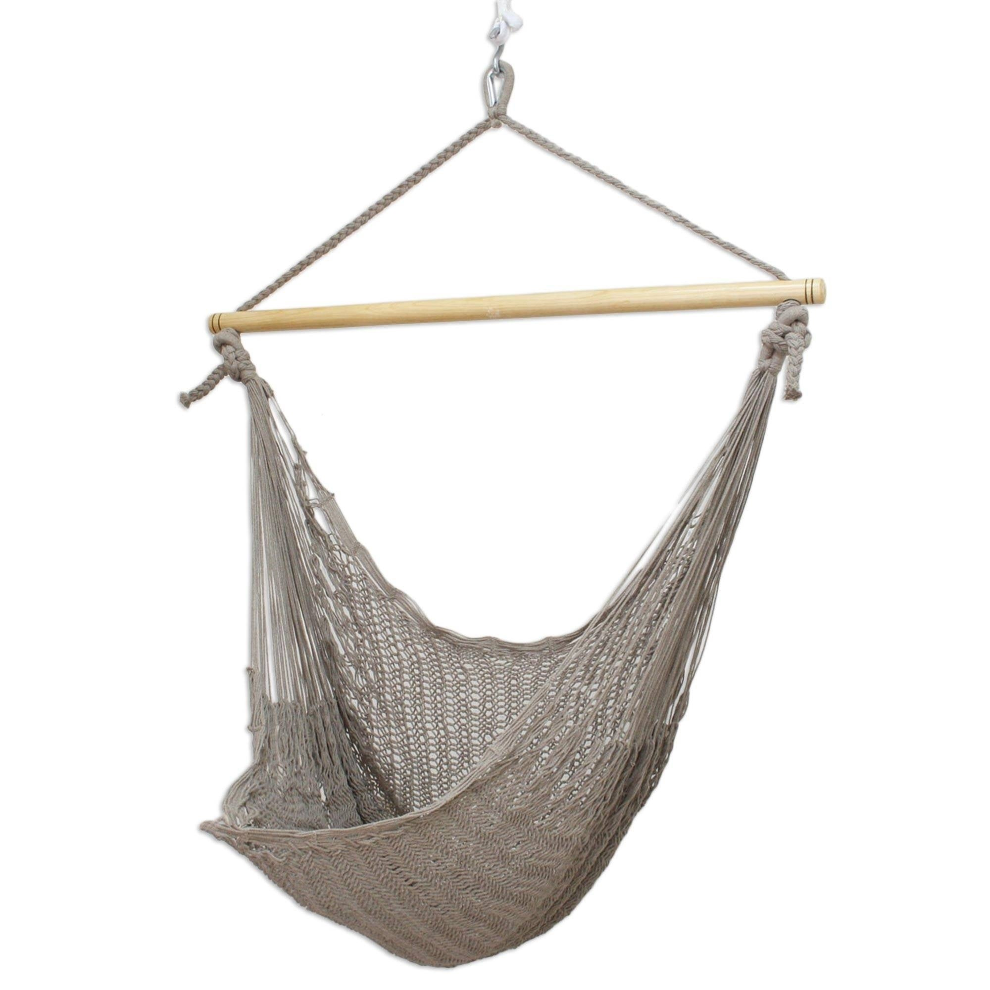 Handmade Grey Cotton Banak Wood Pate Large Deluxe Hammock Swing Chair Mexico