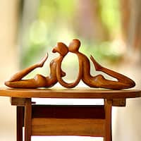 Handcrafted Suar Wood 'Beauty of a Kiss' Sculpture, Handmade in Indonesia