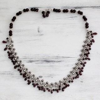 Handmade Sterling Silver Mughal Regent Red Garnet Necklace (India)
