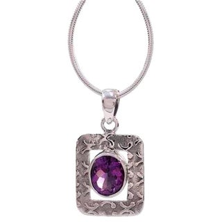 Sterling Silver 'Hypnotic Intuition' Amethyst Necklace (India)